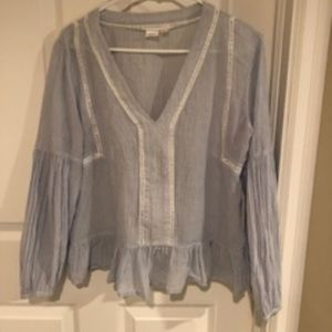 Gap Blue/White Striped Cotton Blouse M